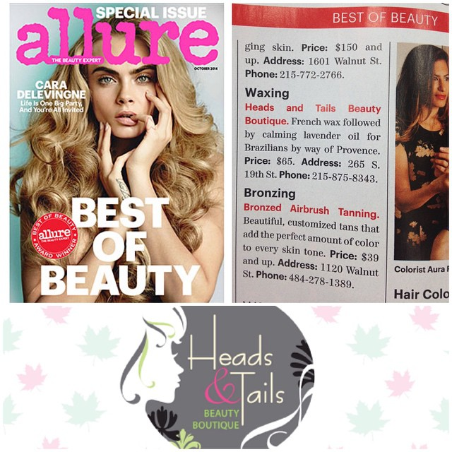 Heads & Tails Philly Press, Second Allure Magazine Best ofBeauty Award, for Waxing. October 2014