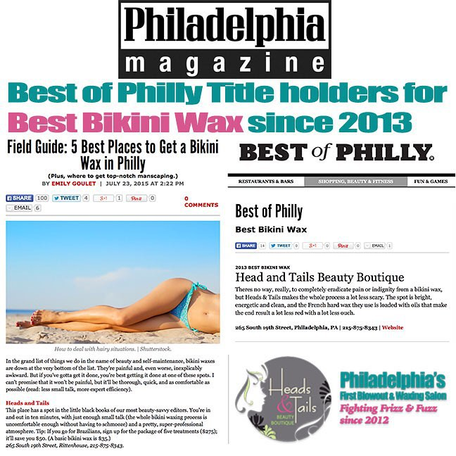 Heads & Tails Philly Press, Philadelphia Magazine Best of Philly WINNERS for Best Bikini Wax