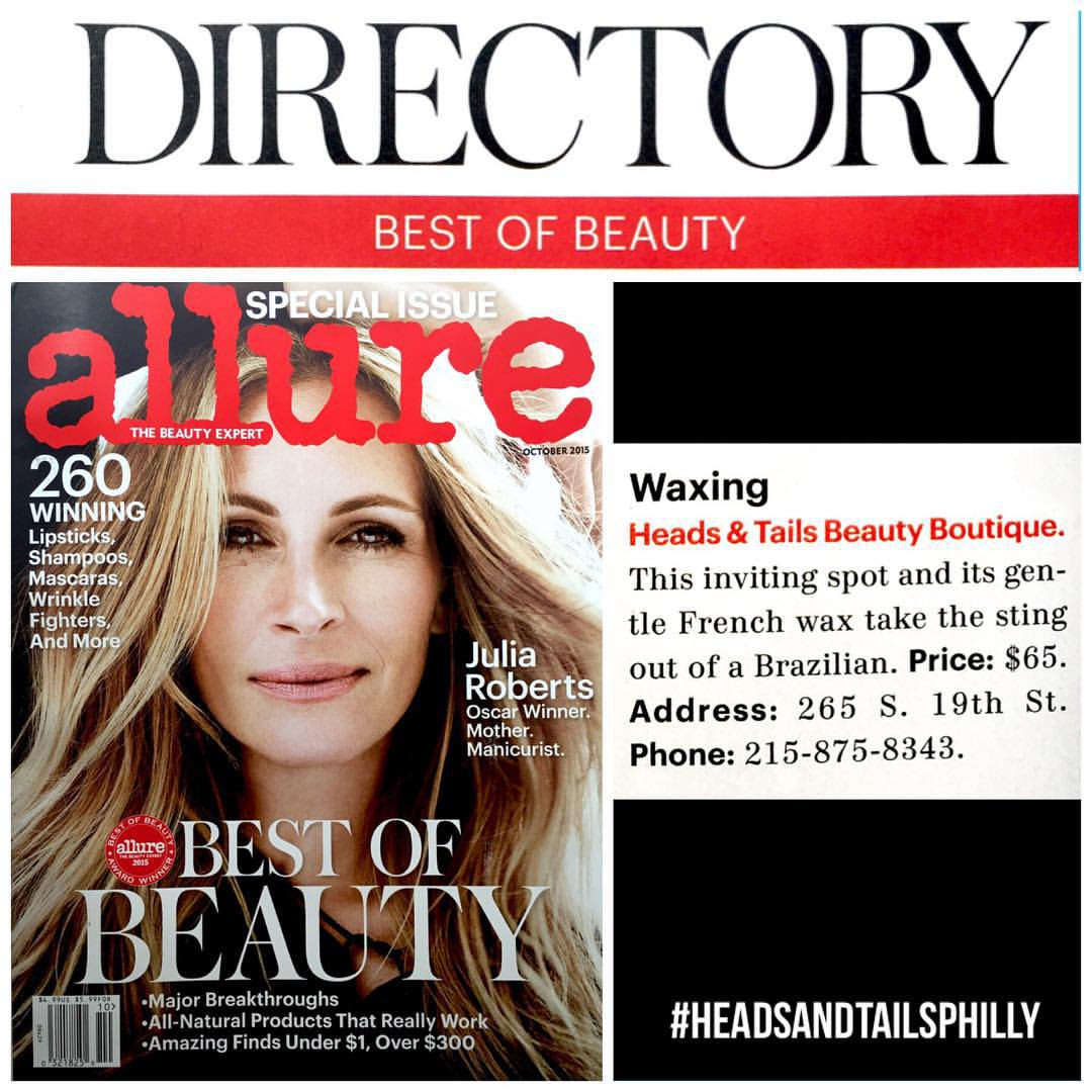 Heads & Tails Philly Press, 3rd Win for Allure Magazine Best of Beauty Award