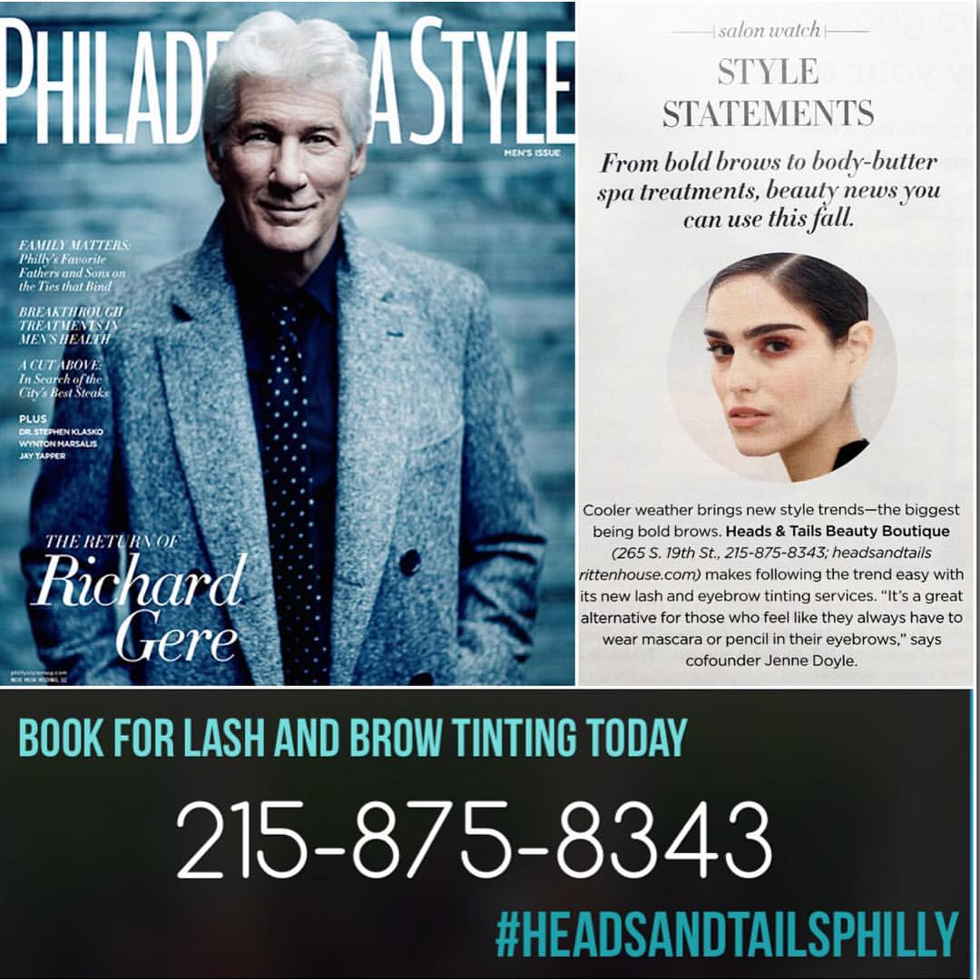Heads & Tails Philly Press, Philadelphia Style Magazine mention for Lash and Brow tinting