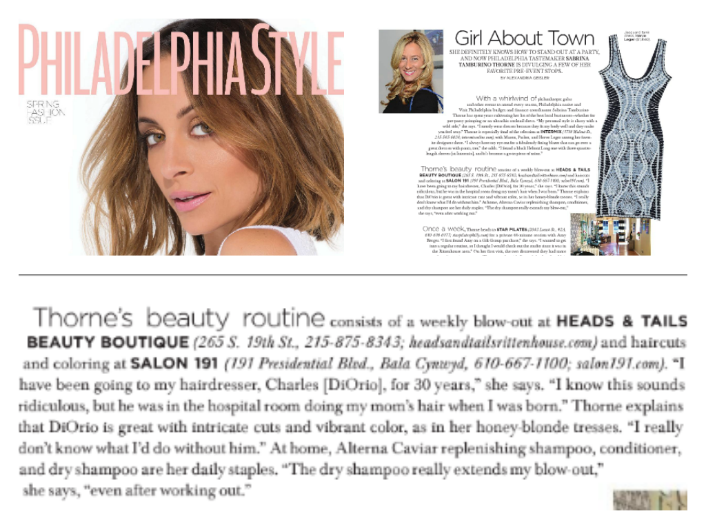 Heads & Tails Philly Press Philadelphia Style Magazine highlight with Client Sabrina Tamburino-Thorne