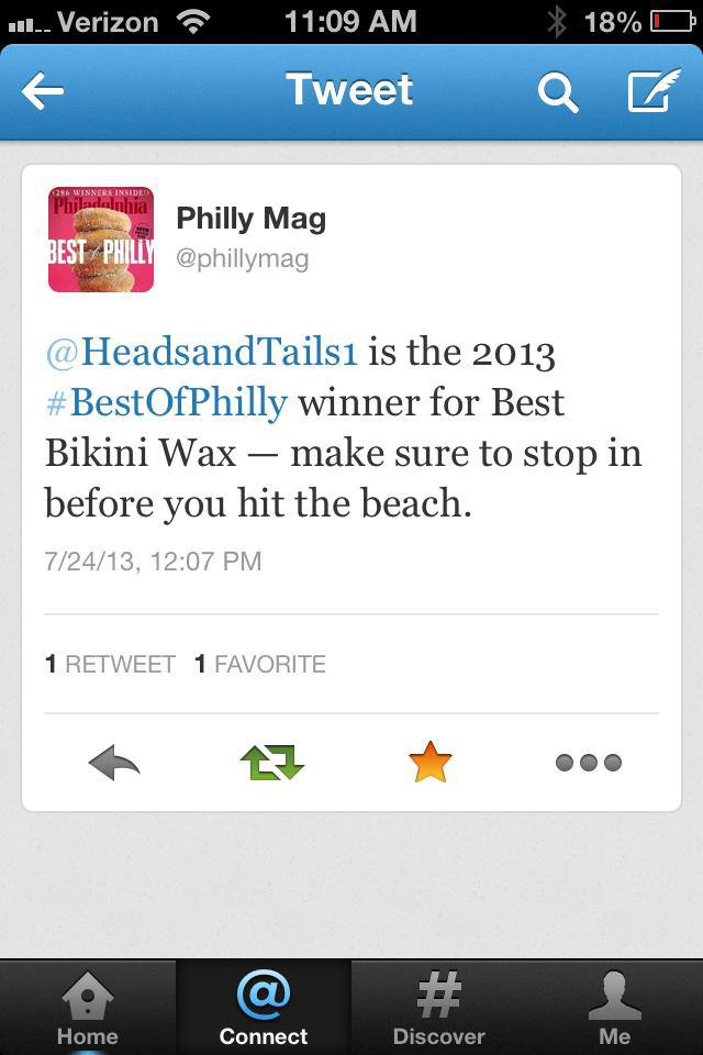Heads & Tails Philly Press, Mention from Philadelphia Magazine about our Best of Philly Win for Bikini Wax on Twitter