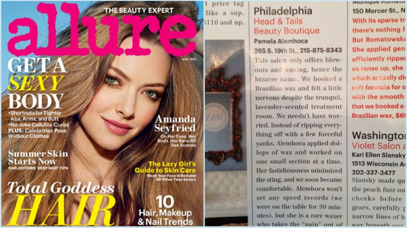 Heads & Tails Philly Press, Allure Magazine mention for best Bikini Wax in Philadelphia with our amazing Pamela.